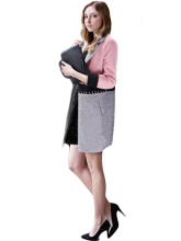 New Style Women Fashion Tailored Collar Long Sleeve Patchwork Cardigan Coat