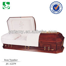 Cheap American embroidery interior oak casket sales