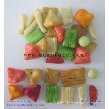 Varias galletas de arroz confitadas y crujientes