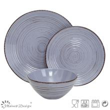 18PCS Antiqute Blue con cepillo de cerámica Set de cena