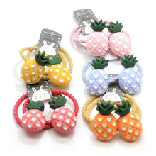 100Pcs/bag Rubber Band Tie Gum Child Baby Kids Small Cartoon Fruit Pineapple Ponytail Holders Girls Hair Accessories