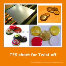 JIS3315 standard Tin gratuit tôle d'acier pour capsules de bouteilles