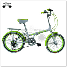 20 Inch Green Folding Bike with Rear Rack