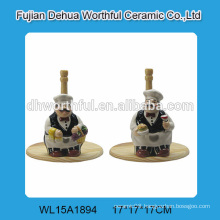 2016 ceramic tissue holder in chef shape with wooden bottom