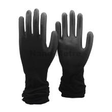 NMSAFETY gants en PU noir enduit de nylon noir léger avec manchette extra longue