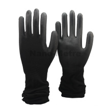 NMSAFETY Luvas de PU pretas em nylon preto com manga extra longa