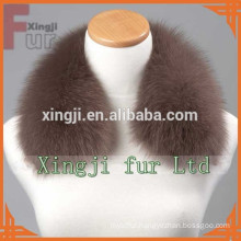 Dyed color leather jacket blue fox fur collar with lining