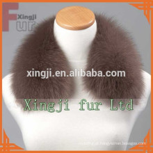 Coleira de pele de jaqueta de couro de cor azul tingida com forro