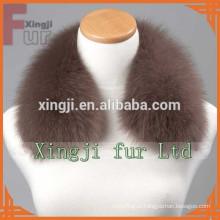 Крашеный цвет кожаная куртка синий Fox меховой воротник с подкладкой