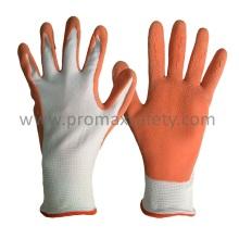 Forro de poliéster branco 13G Luvas de jardim de revestimento de lã de laranja e de látex