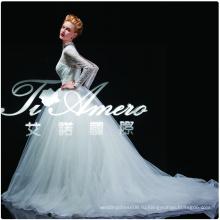 1A175cx 2015 высокий воротник кружева Дворец свадебное платье/Показать реальную картину свадебное платье суд поезд Европе и Америке 2105