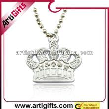 metal crown pendant with rhinestone