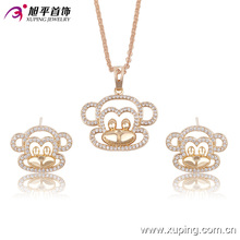 63561 fashion wholesale china delicate lovely earring and necklace gold plated children jewelry set