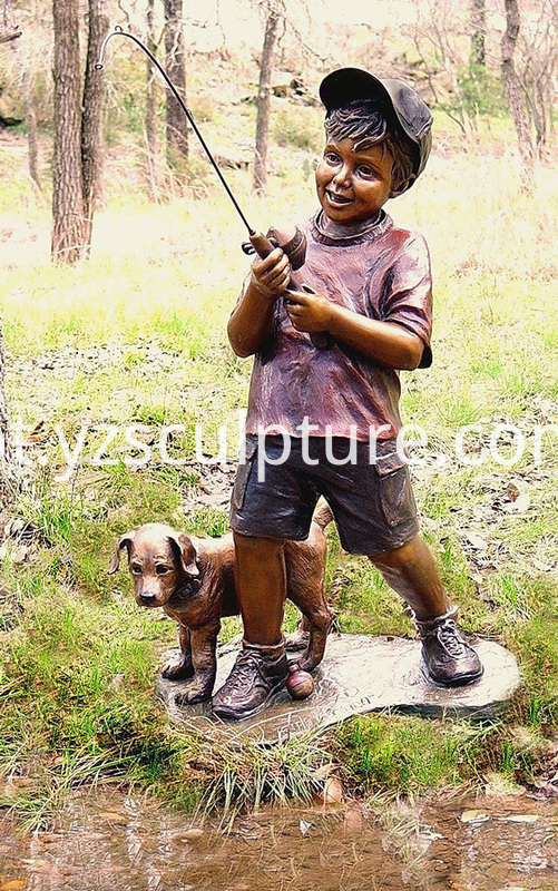 Bronze Boy and Dog Sculpture