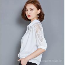 Мода шифон дамы блузка с кружевным рукавом