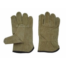 Dark Yellow Cow Split Leather Straight Thumb Driver Work Glove-9201