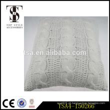 Twist design branco tricô capa para assento chão / estádio almofada decoração travesseiro