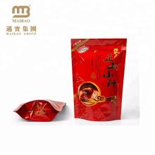 Sac composé refermable en plastique de tirette de pe de la couleur rouge imperméable de logo fait sur commande de logo pour l'emballage de thé
