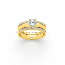 Popular Silver Trio Ring /Brass Jewelry (KR3010)