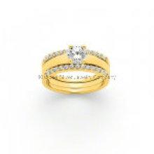 Popular prata trio anel / bronze jóia (kr3010)