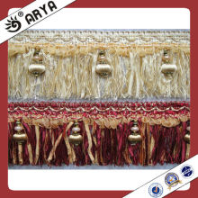 Polyester Lace Brush Fringe With Ribbon , For Carpet ,Cushion Decorative, Brush Trimmings
