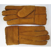 mens sheepfur lined sheepskin double face leather gloves