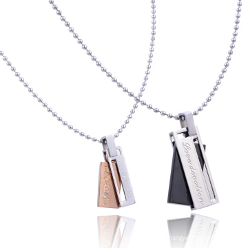 Stainless Steel Black Rose Gold Titanium LOVE U Rectangle Set For Lovers Crystal Couple Necklace