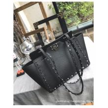 High quality fashion beautiful colorful custom rivet pu leather women hand bag