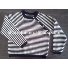 оптовая продажа 91 складе цвета круглый шеи полосатый ребенок чистый кашемир свитер