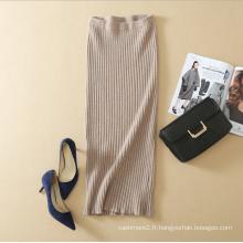 2017 printemps nouveau design couleur unie tricoté ceinture élastique jupe longue à la taille