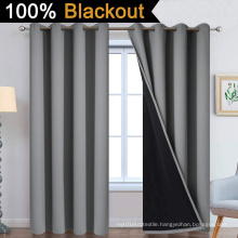 Grey 100% Blackout Curtains