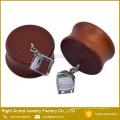 Großhandelsart und weise baumeln Glasstein-organische natürliche Brown-Holzohr-Stecker