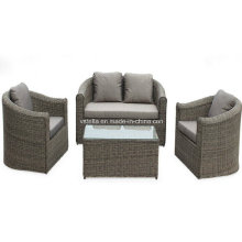 4 PCS acolchoado de vime seção sofá pórtico conjunto de móveis