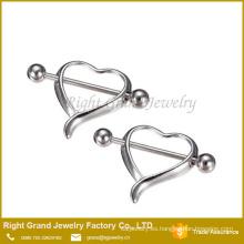 Corazón hueco acero quirúrgico pecho pezón Barbell anillos de la joyería Piercing del cuerpo