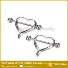 Cœur creux en acier chirurgical du sein mamelon Barbell anneaux Piercing bijoux de corps