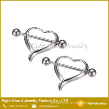 Aço Cirúrgico Oco Coração Peito Mamilo Barbell Anéis Piercing Jóias Corpo