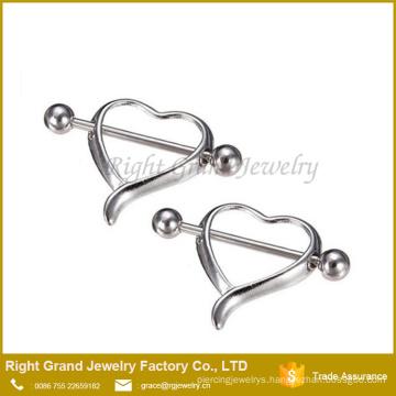 Surgical Steel Hollow Heart Breast Nipple Barbell Rings Piercing Body Jewelry