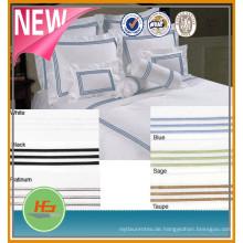 China Heißer Verkauf Produkt 100% Baumwolle Stickerei Streifen Stern Hotel Bettwäsche / Bettwäsche Set