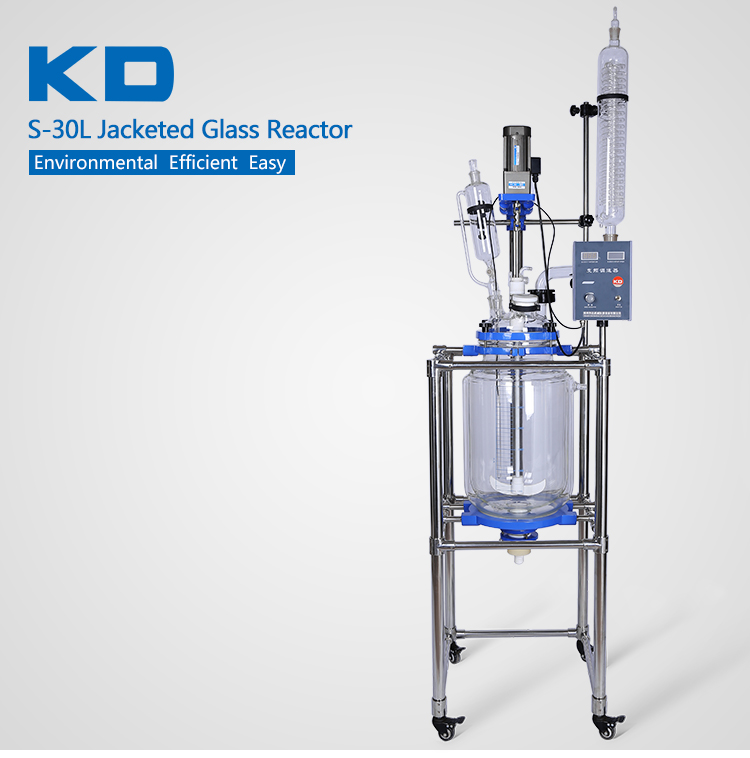 Lab Jacketed Glass Polymerization Reactor 30L
