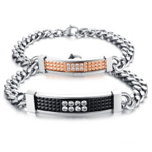 2015 new retro fashion exquisite zircon couple titanium steel bracelet GS717
