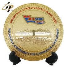 Factory custom 24k gold plated brass metal souvenir plate
