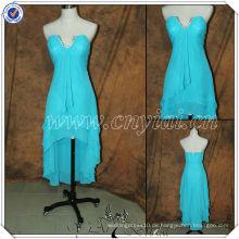PP2713 Front kurzes langes rückseitiges wulstiges blaues Chiffon- Kleid für Brautjungfer