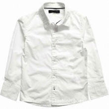 Boys' White Slim Fit Cotton Shirt with Logo, Made of 100% Cotton