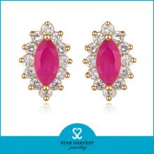 Elegant Ruby Silver Earring Jewellery with Custom Design (J-0043-E)