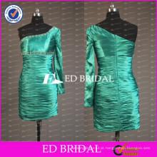 ED Bridal Real Sample One Shoulder One Sleeve Vestido de cocktail barato em tafetá de bainha curta 2017