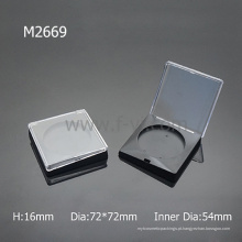 Recipiente de plástico transparente quadrado talco em pó contêineres