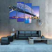 Современный ночной мост Cityscape Освещенная картина на холсте для украшения 2015