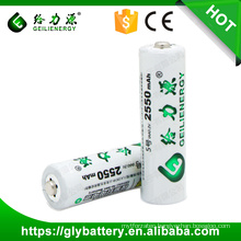 Geilienergy 1.2V 2550mAh AA nimh Rechargeable Battery Cell