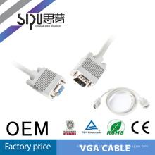 SIPU padrão de 15 pinos macho para especificação de cabo VGA de Copmuter feminino
