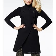 17PKCSC007 mulheres dupla camada 100% casaco de lã de caxemira